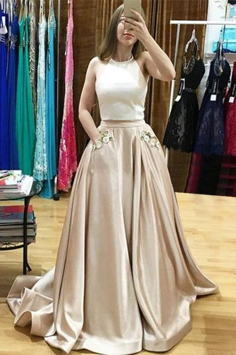 prom dresses,Sexy Prom Dress,Two Piece Prom Dresses,Champagne Prom Dress, Evening Dresses,open back prom dresses,backless prom dresses