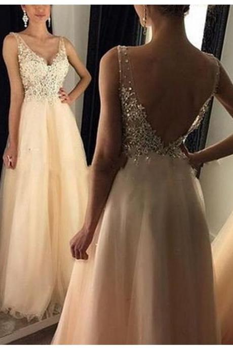 A-line Deep V-Neck Backless Floor Length Prom Dress with Beading Appliques