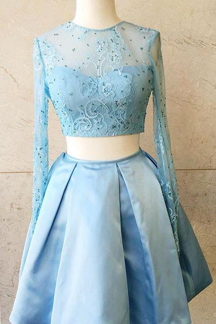 homecoming dresses,2017 Short Prom Dress Homecoming Dress, Two Piece Prom Dress, Light Sky Blue Prom Dress, Long Sleeves Prom Dress