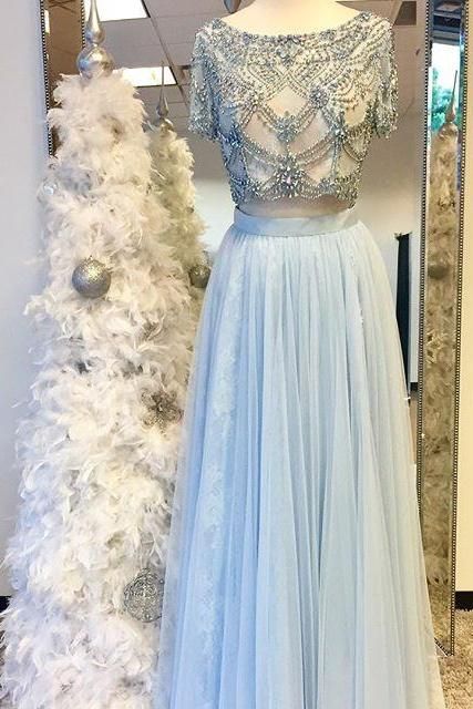 Sexy Prom Dress,2017 Beads Two Piece Prom Dress, Sparkly Long Prom Dress, Light Sky Blue Prom Dress, Pink Prom Dress, White Long Prom Dress