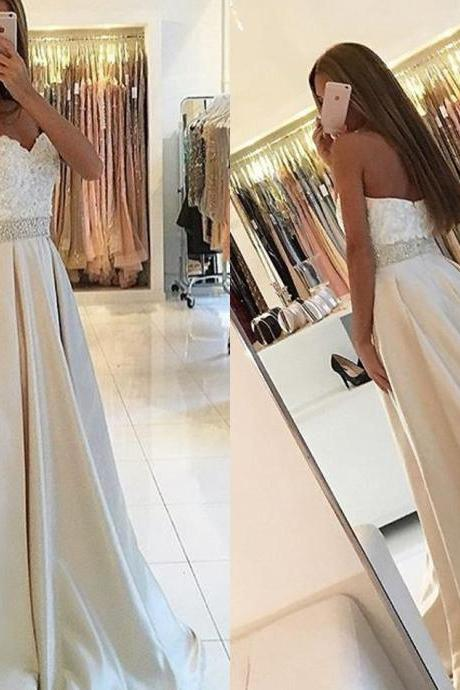 Elegant A-line Prom Dress, Strapless Prom Dress, Long Prom Dress, 2017 Prom Dress