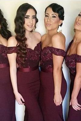 bridesmaid dress,Off the shoulder Mermaid Long Burgundy Bridesmaid Dress Wedding Party Dresses