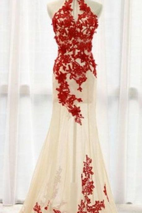 Prom Dress,Lace Prom Dresses,Tulle Formal Gown,Red Prom Dresses,Lace Evening Gowns,Lace Formal Gown For Teens