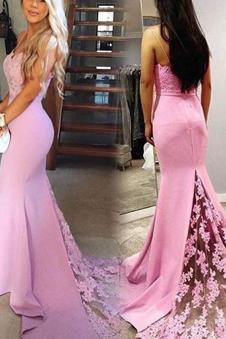 Beautiful Prom Dresses,Charming Sexy Evening Dress,Sexy Mermaid Prom Dress, Sleeveless Lace Appliques Prom Dress,Backless Long Formal Evening Dress,Wedding Party Gown