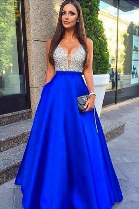 Prom Dresses,Satin Prom Dresses 2017, New Arrival Beading Evening Dresses,Sexy Sleeveless Formal Dress,Long Prom Dress,Party Gown