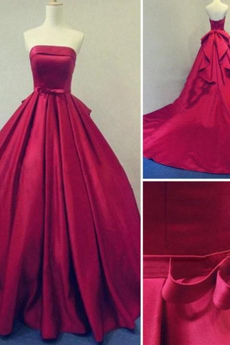 Prom Dresses,2017 Long Burgundy Prom Dresses Ball Gowns Evening Party Gown Strapless Stain Lace-up Real Photos Dress