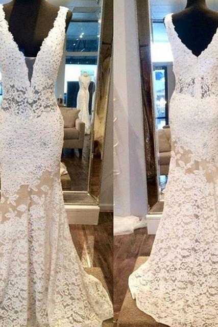 Plunging V Sheer Lace Mermaid Wedding Dress with V Back