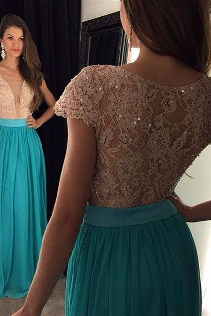 Charming See Though Prom Dress,Sexy Appliques Lace Cap Sleeve Prom Dress,Formal Evening Dress,Women Dress