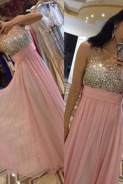 Charming Crystal Evening Dress,Sexy Scoop Prom Dresses,Formal Dress