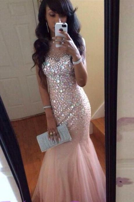 Hot Luxury Beaded Rhinestones Mermaid Prom Dresses,Sheer Neck Floor Length Long Formal Prom Gowns,Nude Pink Women Pageant Prom Dress