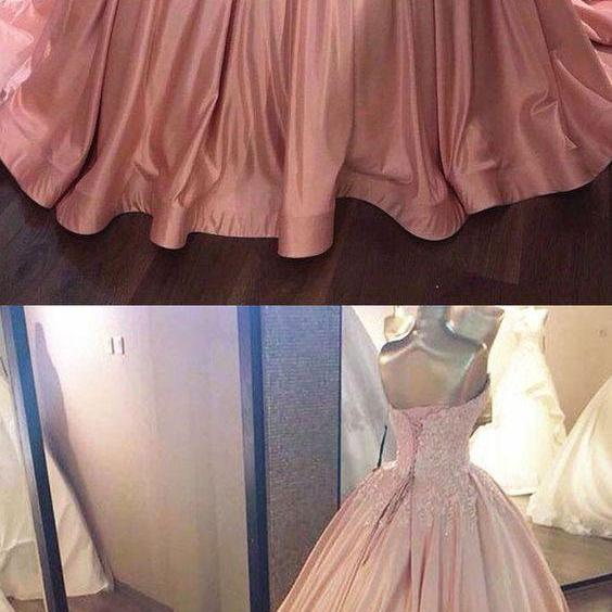 Pink Sweetheart Lace Long Ball Gown Prom Dress,sweet 16 dress M0331
