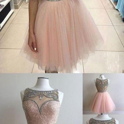 Tulle Prom Dress,Short Prom Dresses,Sleeveless Elegant Prom Gown,Fashion Homecoming Dress,Sexy Party Dress,Custom Made Evening Dress M0332