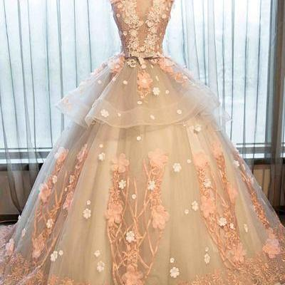 Champagne organza lace applique round neck handmade prom dress,ball gown dress for teens M0334