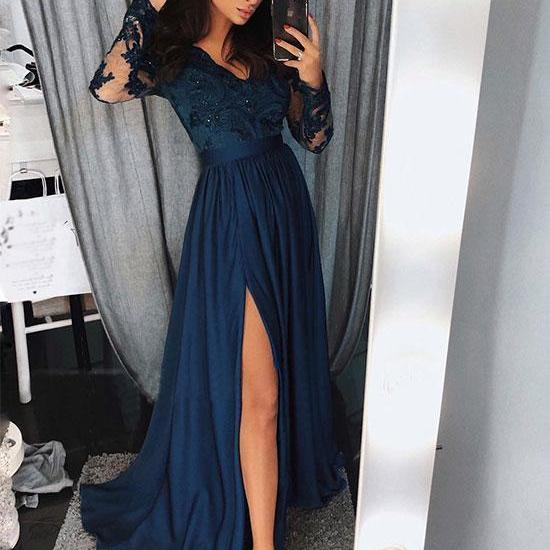 Blue long sleeve lace prom dress, blue long evening dress M1874
