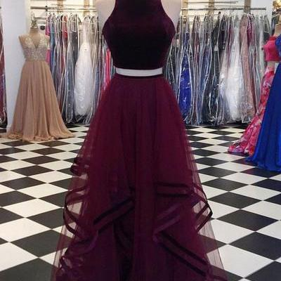 Two Pieces A-Line O-Neck Prom Dresses,Long Prom Dresses,Cheap Prom Dresses, Evening Dress Prom Gowns, Formal Women Dress M1875