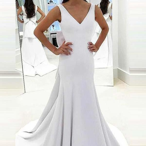 Mermaid Deep V-Neck Sweep Trian White Satin Backless Wedding Dress M2375