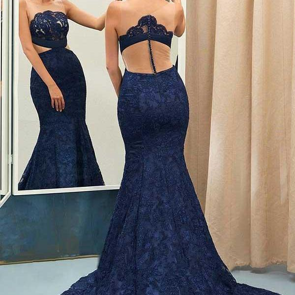 Mermaid Sweep Train Navy Blue Lace Sleeveless Prom Dress M2376