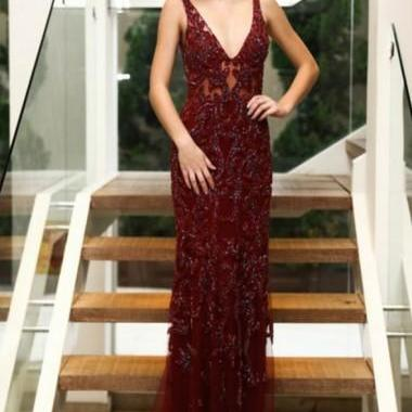 Mermaid Deep V-Neck Floor-Length Burgundy Tulle Backless Prom Dress with Beading M2377