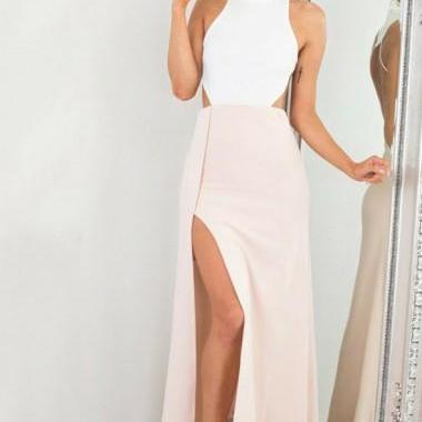 Sheath Jewel Ankle-Length Beige Cut Out Open Back Split Prom Dress M2378