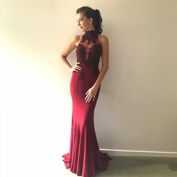 Mermaid High Neck Sweep Train Burgundy Stretch Satin Prom Dress with Lace M2380