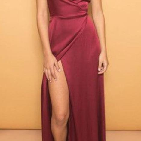 Sexy Spaghettis Prom Dresses,Backless Prom Dresses,Deep V Neck Slit Evening Dress,Long Prom Dress M2913
