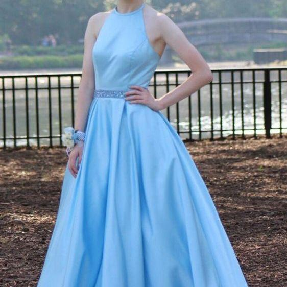 Baby Blue Ball Gown Satin Prom Dresses Crew Neck Beading Crystal Prom Dress Party Dress Formal Gowns M2915