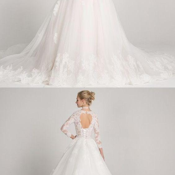 A-Line Bateau 3/4 Sleeve Open Back Tulle Wedding Dress with Appliques Beading M3084