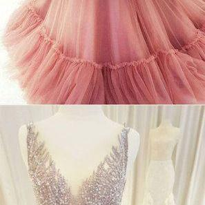 Unique v neck tulle beaded long prom dress, pink evening dress, pink formal dress M3262