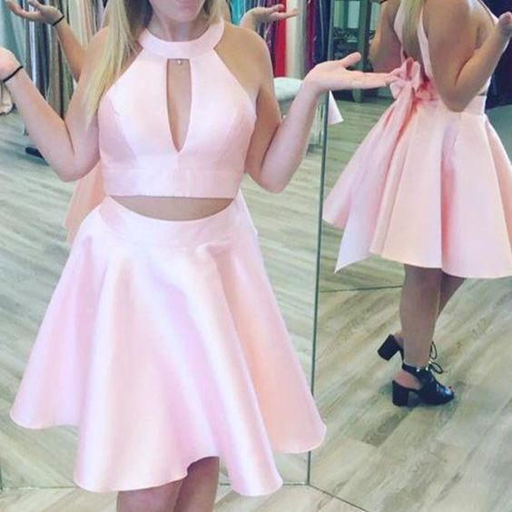Two Piece Round Neck Open Back Pearl Pink Satin Bowknot Homecoming Dress M3484