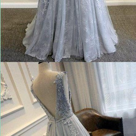 Gray V-Back Scoop Tulle Lace Appliques Party Evening Prom Dresses M3493