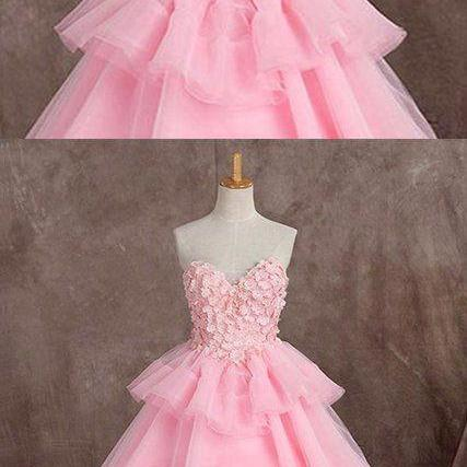 Pink tulle sweetheart long ball gown, long formal prom dress with appliqué M3494