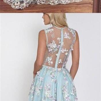 Custom Blue Lace Elegant Prom Dresses, V-Neck Party Dress, Formal Evening Dresses M3495