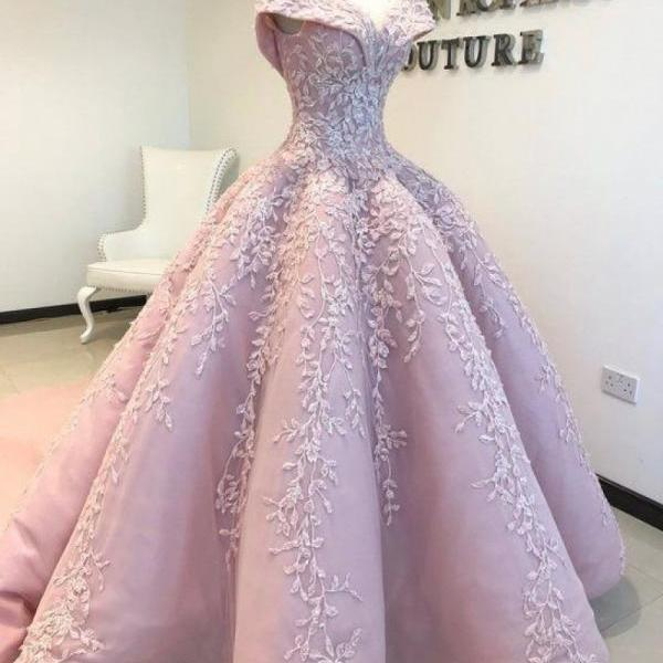 Ball Gown Off the Shoulder Lace Floor-Length Blush Pink Quinceanera Dress Sweet 16 Dresses for Girls M4078