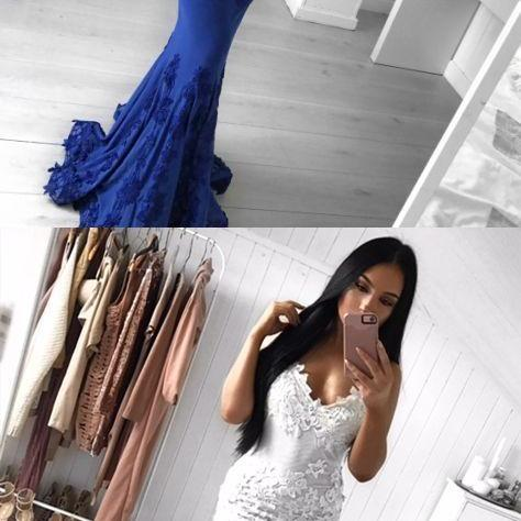 Mermaid Spaghetti Straps Royal Blue Prom Dress with Appliques M4079