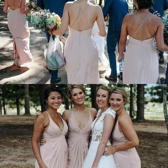 pink chiffon long bridesmaid dress, 2018 bridesmaid dress, straps v neck pink chiffon long bridesmaid dress wedding party dress M4212