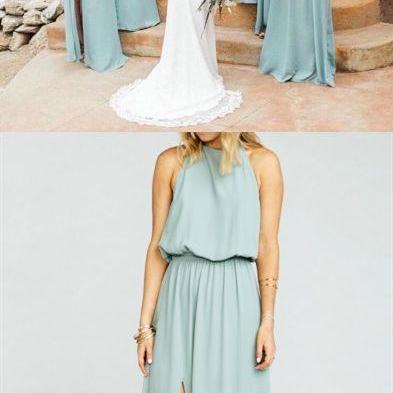 boho style bridesmaid dresses, chic wedding party gowns, fashion sliver evening dresses M4215