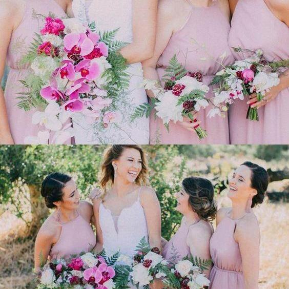 Long Pink Chiffon Bridesmaid Dresses, Rustic Bridesmaid Dresses, Halter Neck Modest Bridesmaid Dresses M4230