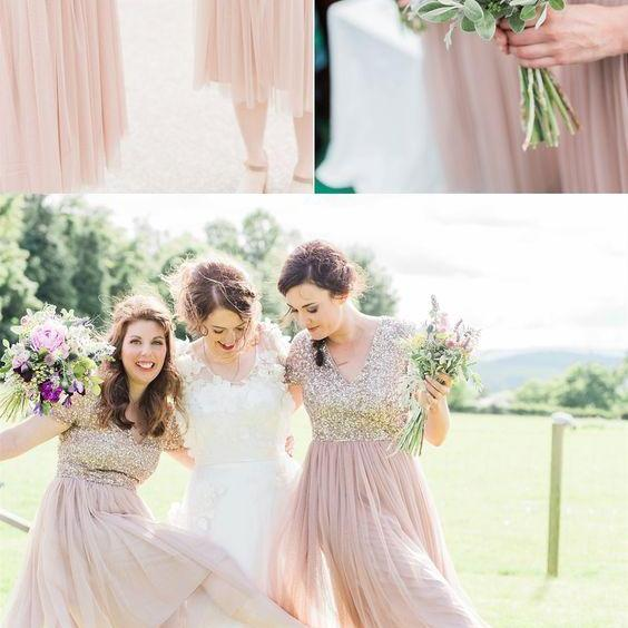 A-Line V-Neck Short Sleeves Pink Bridesmaid Dress with Sequin M4231
