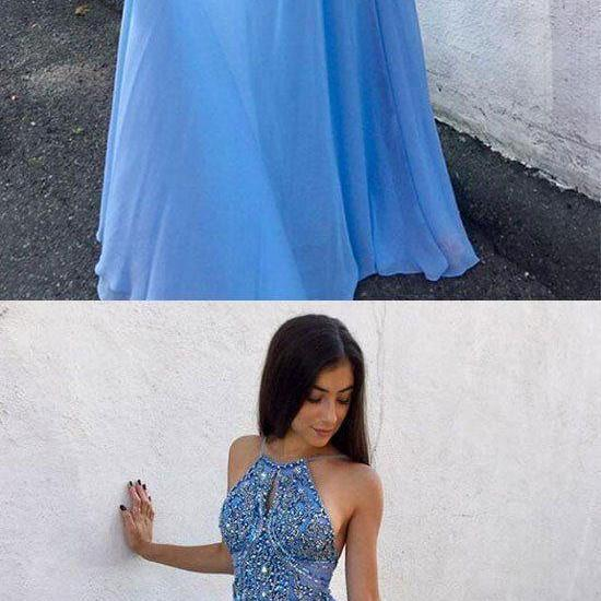 Blue chiffon beaded long prom dress, backless evening dress M4232