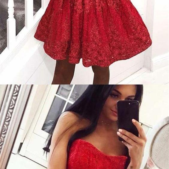 A-Line Sweetheart Red Lace Homecoming Prom Dress M4269