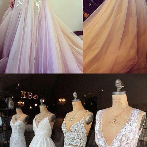 Long Prom Dress, Pink Prom Dress with White Lace Appliques M4408