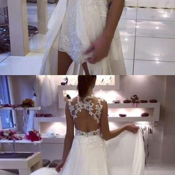 A-Line Illusion Jewel Open Back Chiffon Wedding Dress with Appliques M4410