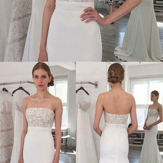 Sheath Strapless Sweep Train Elastic Satin Wedding Dress with Lace M4411