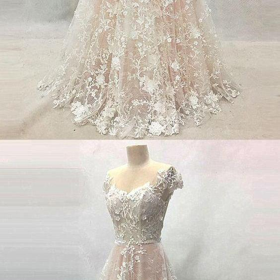Creamy lace backless long cap sleeves formal prom dress, long lace evening dress M4413