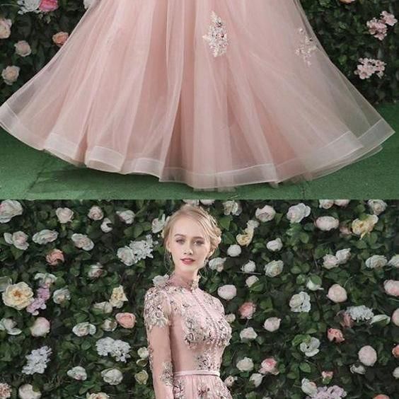 Prom Dresses For Cheap, 2018 Prom Dresses, Pink Prom Dresses, Prom Dresses Lace M4871