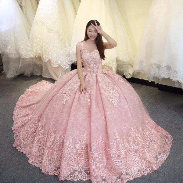 2018 CHIC A-LINE SCOOP PROM DRESSES WITH LACE PINK LONG PROM DRESSES BALL GOWNS EVENING DRESSES M5033