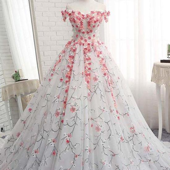 BALL GOWNS OFF-THE-SHOULDER PROM DRESSES WITH APPLIQUE EVENING GOWNS LONG PROM DRESSES EVENING DRESSES M5034