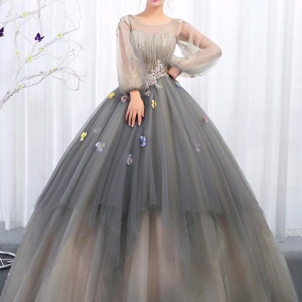 BALL GOWNS BATEAU PROM DRESSES WITH APPLIQUE LONG SLEEVE EVENING GOWNS LONG PROM DRESSES EVENING DRESSES M5038