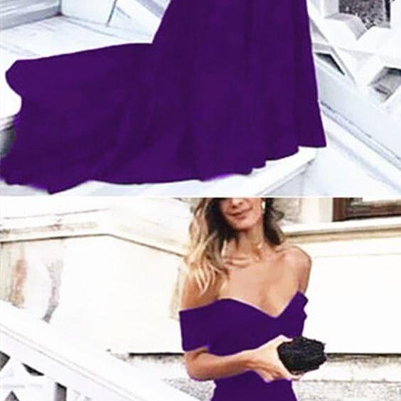 Sexy Leg Slit Long Mermaid Evening Dress Off Shoulder Prom Gowns M5389