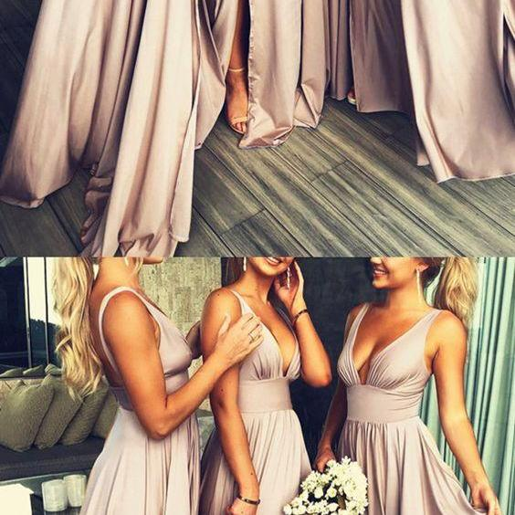 Sexy V-neck Leg Split Bridesmaid Dresses For Wedding Party M5390